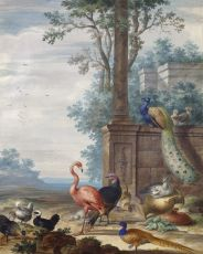 Birds in a landscape by Johannes Bronkhorst