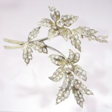 Antique diamond set trembleuse branch brooch by Unknown Artist