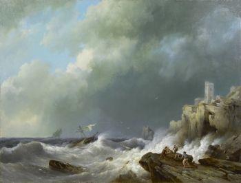 Shipwreck near a rocky coast by Hermanus Koekkoek