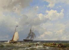 Sailing vessels near the coast by Hermanus Koekkoek
