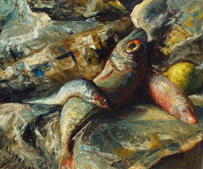Still life with fish in a newspaper by Conrad Kickert