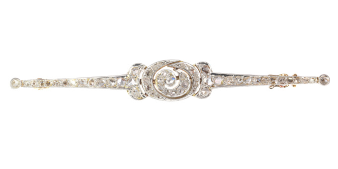 Bar Brooch Bel Epoque Art Deco 18K gold with 65 rose cut diamonds by Unknown Artist