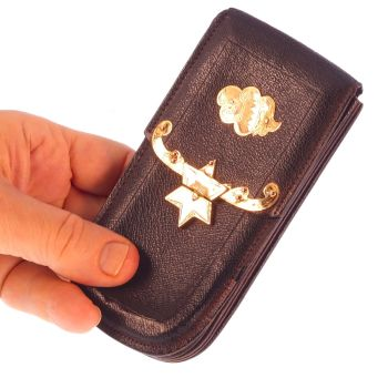 Dutch antique leather wallet with gold fittings and star motif by Unknown Artist