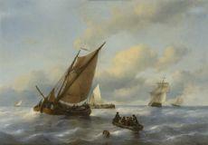 Sailing vessels off the coast by Antonie Waldorp