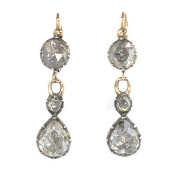 Early Victorian earrings with large rose cut diamonds by Unknown Artist