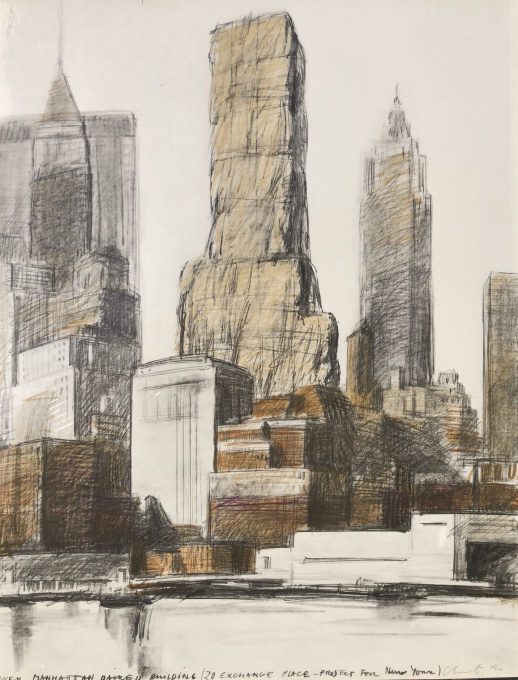 Lower Manhattan Packed Building, 20 Exchange Place, Project for New York by christo and jeanne-claude