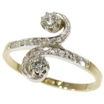 Antique diamond ring Belle Epoque toi et moi by Unknown Artist