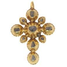 Yellow gold 18th Century Georgian cross with rose cut diamonds by Unknown