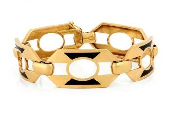 Bracelet Enamel Art Deco by Unknown Artist