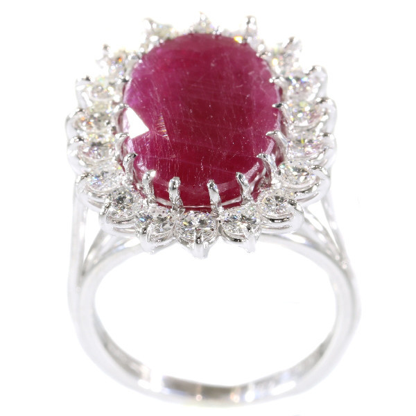 Stunning cocktail ring with one big natural untreated ruby 11.21crt and diamonds by Unknown