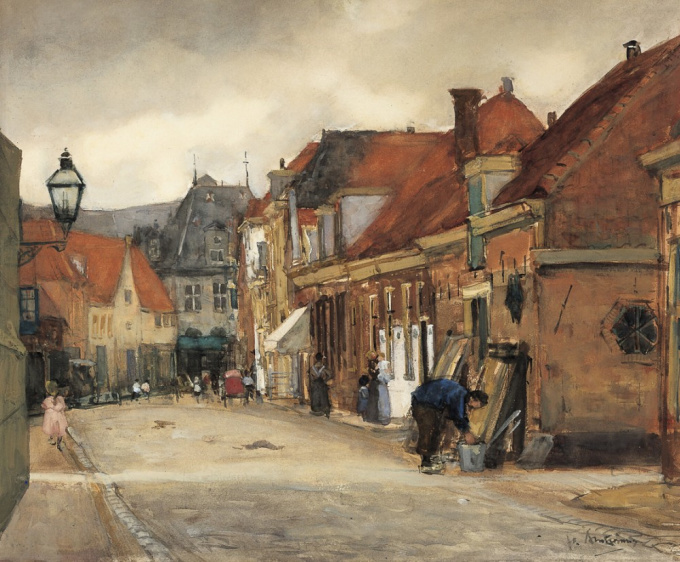 A street in Hoorn with the Kaaswaag in the distance by Floris Arntzenius
