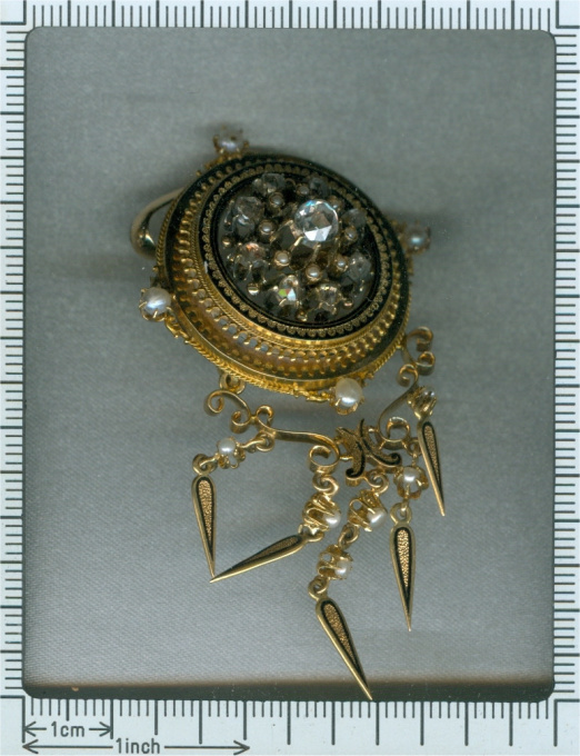 Antique rose cut diamonds and pearl enameled pendant both brooch and pendant by Unknown