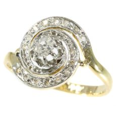 Antique turn of the century ring tourbillon with diamonds by Unknown