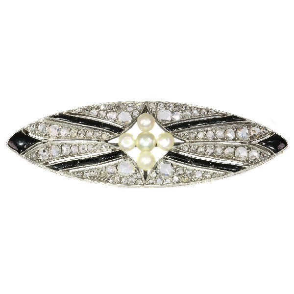Vintage Art Deco diamond onyx and pearl brooch by Unknown