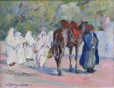 Women and cameldriver in Maroc Tanger by Willem Dooijewaard