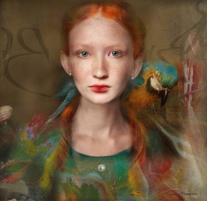 OPHELIA WITH PARROT by Christine Fokkelman