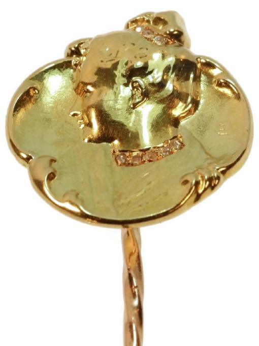 Original Art Nouveau gold and diamond tiepin by famous artist Emil Vernier by Emile Vernier
