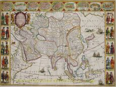 MAP OF ASIA     by Blaeu, Willem