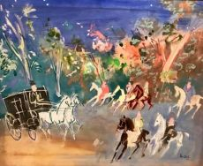 A Calèche and Horses in a Summer Scenery by Jean Dufy