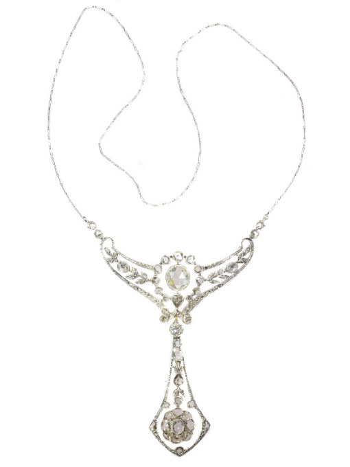 Belle Epoque multi use diamond necklace and pendant made by Wolfers for noble family by Unknown