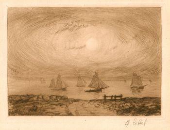 Marine - Barques au clair de lune by Charles Cottet