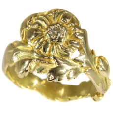 Late Victorian early Art Nouveau flower ring with natural fancy color diamond by Unknown
