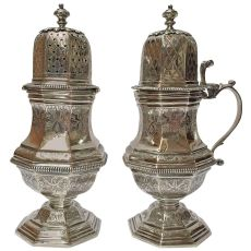 A Belgian Silver Mustard Pot and Caster