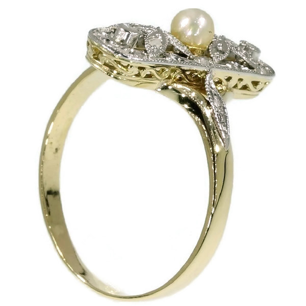 Belle Epoque ring with rose cut diamonds and pearl by Unknown