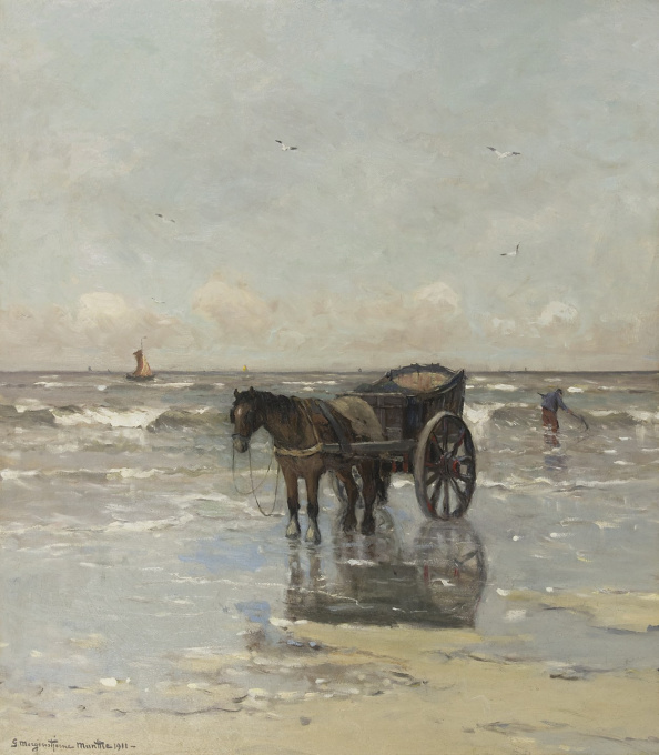 Shell fishing in the surf by Gerhard Arij Ludwig 'Morgenstjerne' Munthe