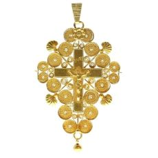 Antique French filigree cross - croix de Boulogne - 200 years old by Unknown Artist