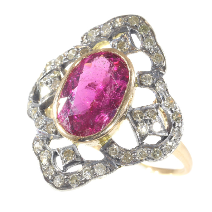 Vintage diamond ring with large rubelite by Unknown Artist