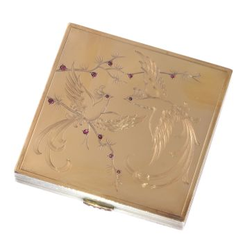 French silver nose powder box with interior mirror and gold and rubies decoration of birds of paradise by Unknown Artist