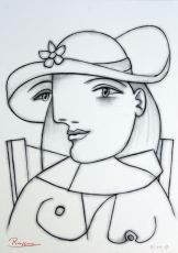 Seated woman with flower on her hat