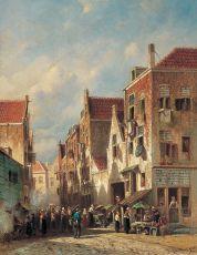A Dutch street scene by Petrus Gerardus Vertin