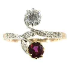 Belle Epoque antique diamond and ruby ring romantic motive toi et moi by Unknown Artist