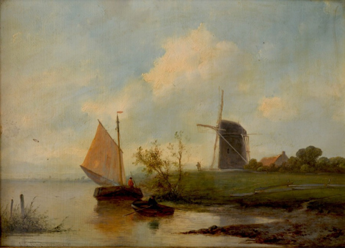 Landscape with windmill and sailboat by Johannes Franciscus Hoppenbrouwers