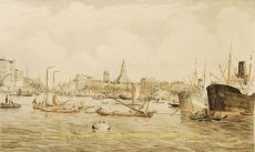 View on the harbour of Rotterdam by Eugène Rensburg