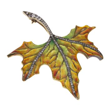 Vintage autumn leaf brooch enameled and with diamonds by Unknown Artist