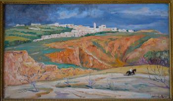 Horse rider in Tunisian landscape by Louis Hartz