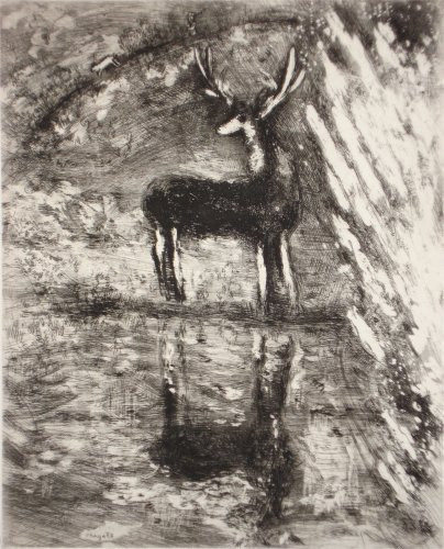 The deer sees himself in the water by Marc Chagall
