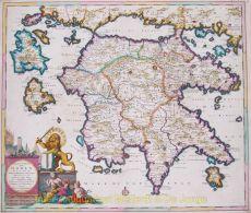 Beautiful map of the Peloponnesian peninsula by Danckerts, Justus