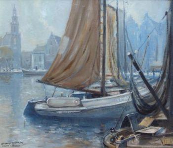 'Volendammer vissersboten in de haven van Hoorn´ by Bernard Leemker