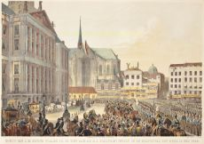 Amsterdam, intocht Willem III  by  Charles Rochussen