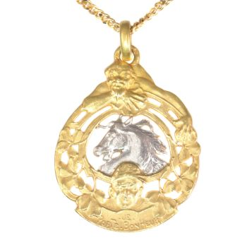 Antique French gold good luck charm, good luck token for horse races by Unknown Artist