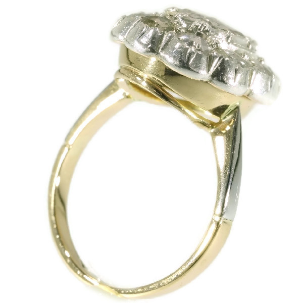 Vintage diamond cluster ring with big rose cut diamond by Unknown Artist