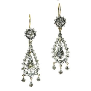 Victorian long pendent rose cut diamond earrings by Unknown Artist