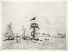 Jetée en bois dans le port de Honfleur by Johan Barthold Jongkind