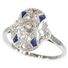 Original Vintage French Art Deco Ring with diamonds and sapphires by Unknown Artist