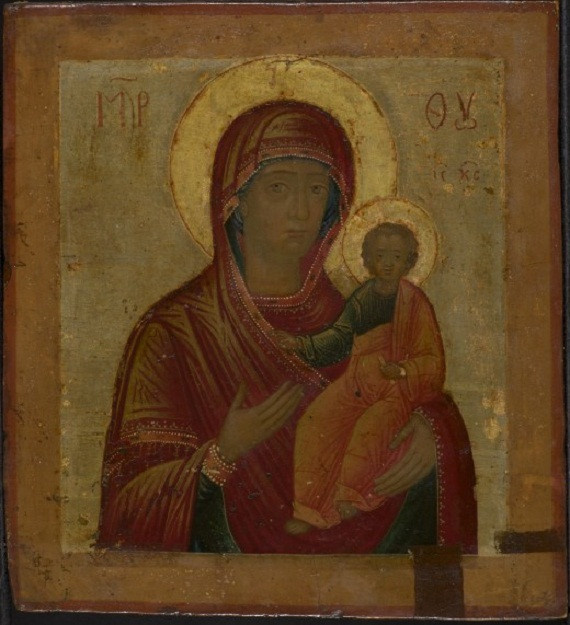 Russian wooden icon: The Mother of God of Smolensk by Unknown Artist