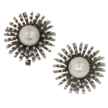 Estate white gold ear clips with pearl model sea urchin by Unknown Artist